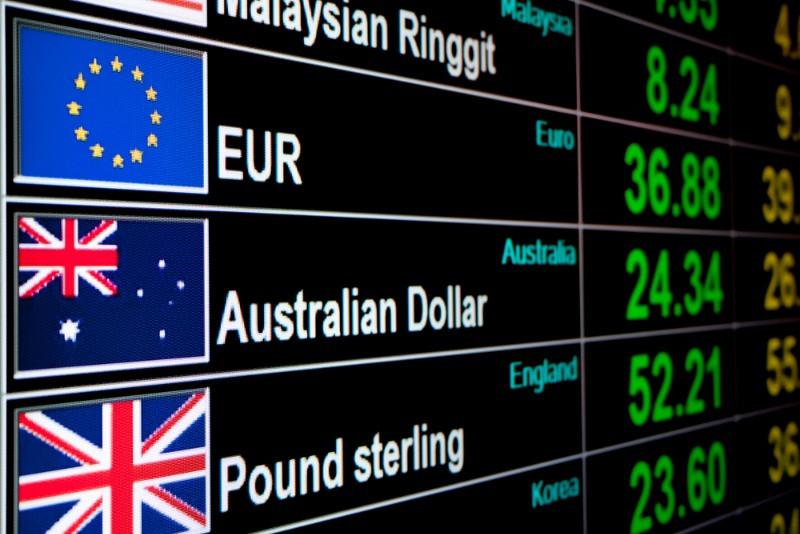 Exchange rates at international airport