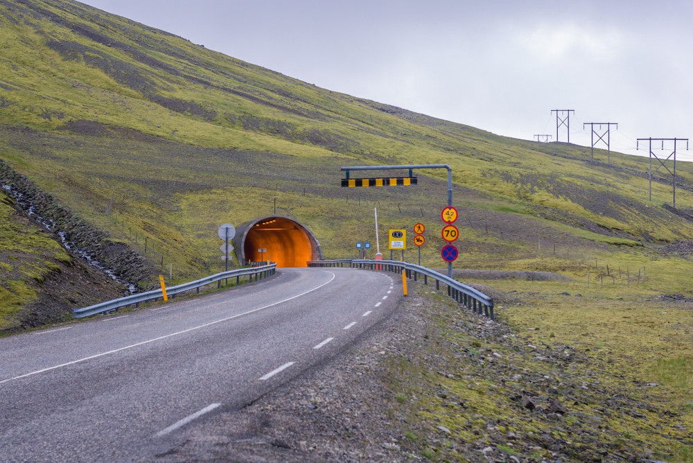 Entrance of a tunnel - Tolls in Iceland
