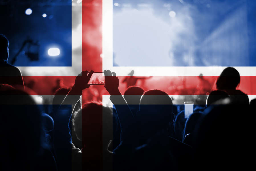Icelandic bands playing live with the Icelandic flag