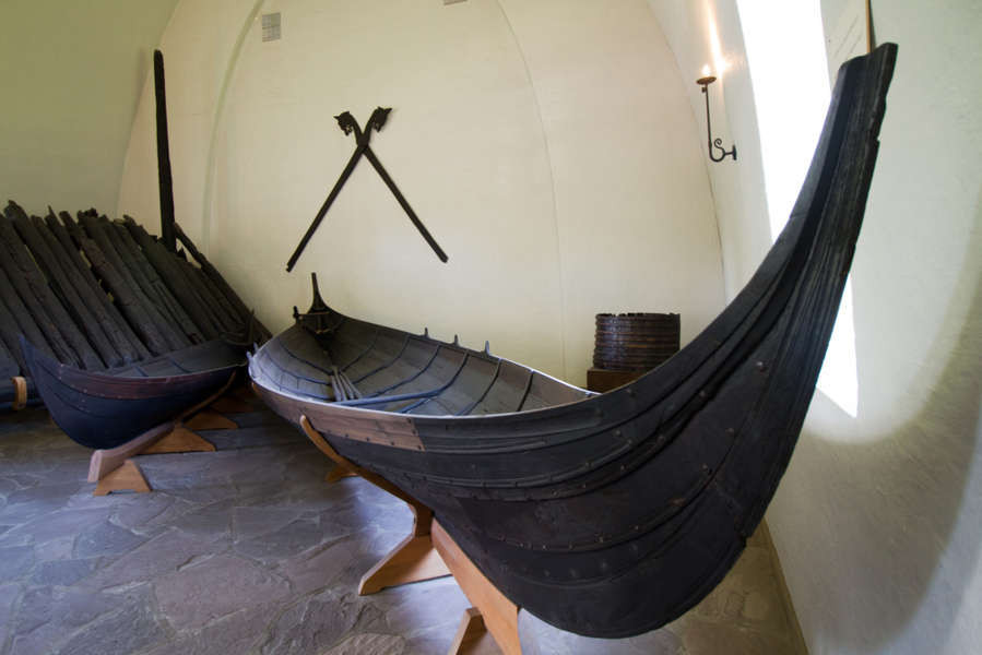 Islendigur viking ship mockup shown in a museum