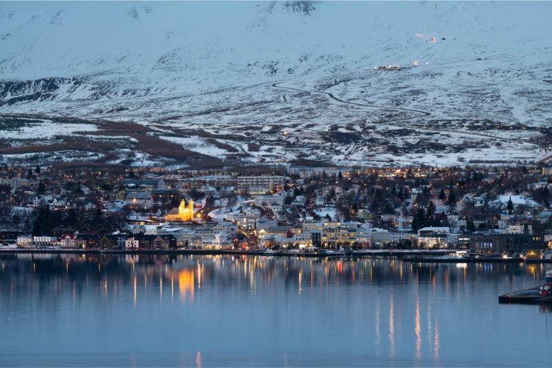 Akureyri Iceland in the winter