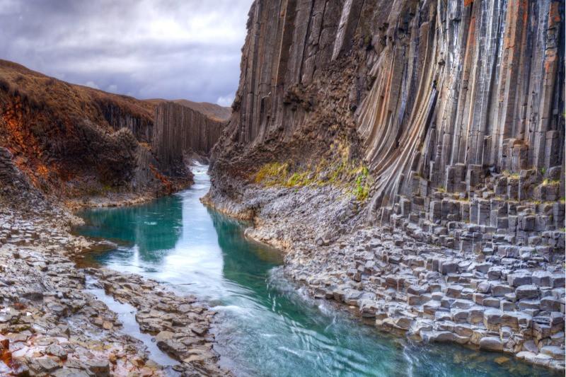 Stuðlagil canyon has basalt columns in Iceland