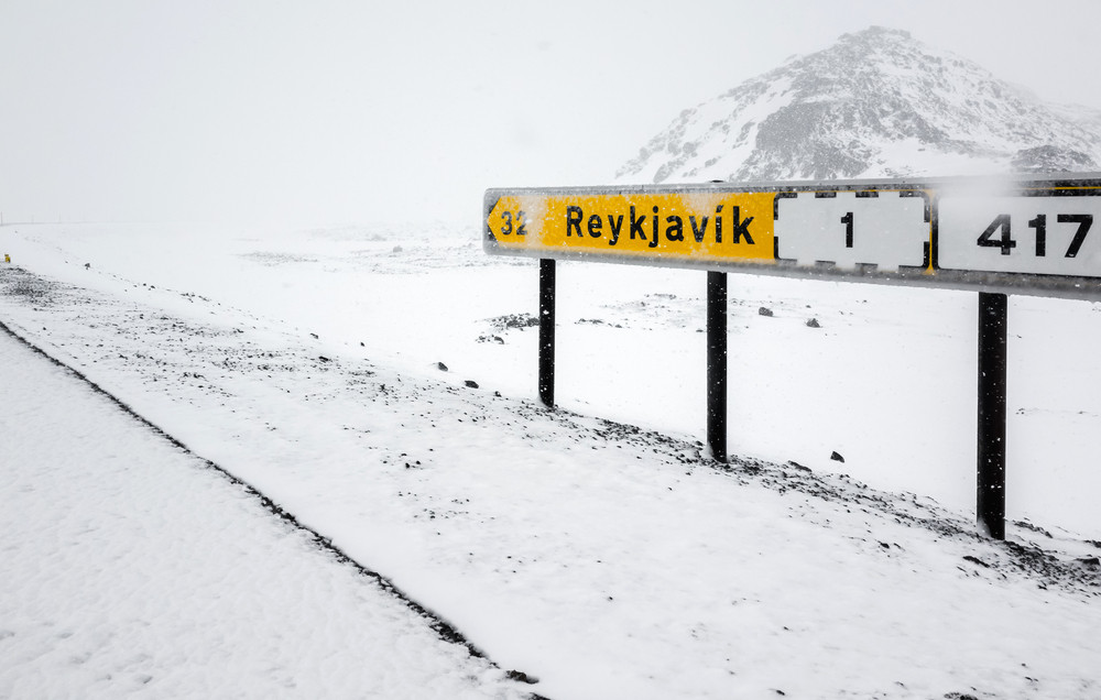 Road sign for Reykjavik on road one or Ring Road in Iceland
