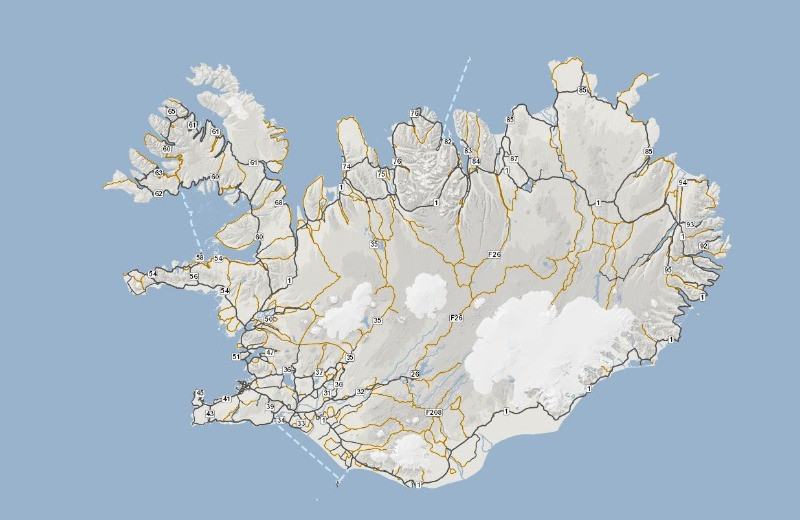 gravel road map in Iceland