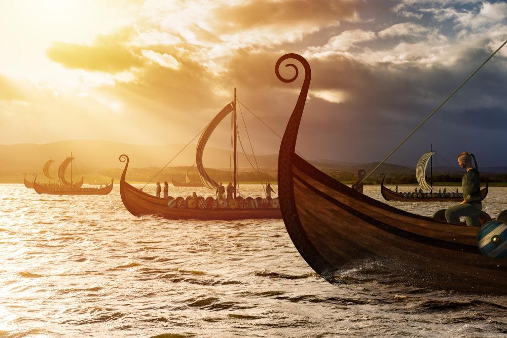 Barcos vikingos simulando el asentamiento en Islandia