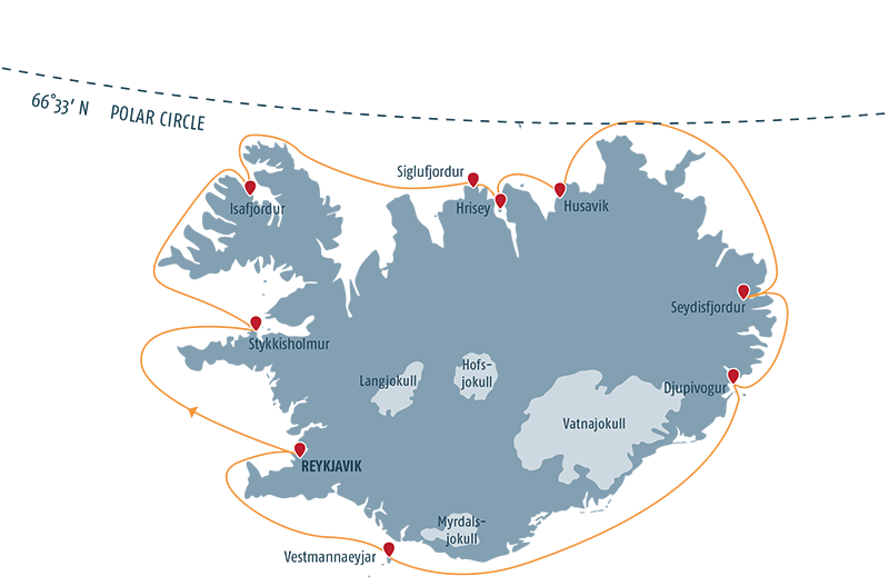 Map with all the stops for a cruise liner across the island
