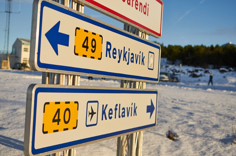 Road sign for Keflavik and Reykjavik city. Keflavik shuttle covers this route daily.