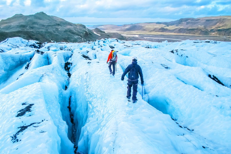 One of the best winter vacations is glacier hiking in Iceland