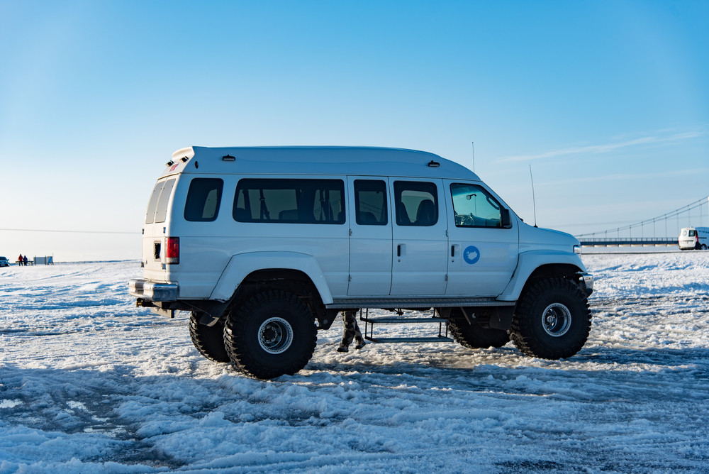 Huge jeep for a day tour in Iceland during the winter time