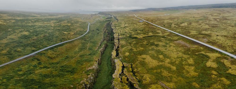 falla tectónica en Islandia visible en la superficie