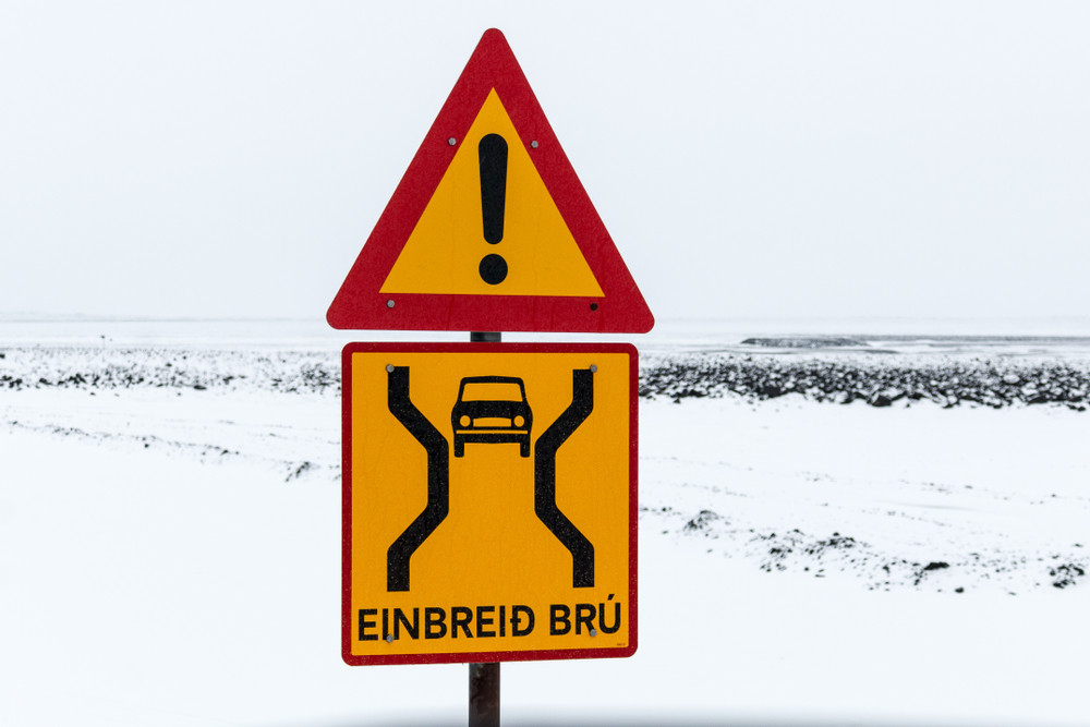 Iceland road sign informing of a single lane tunnel coming soon