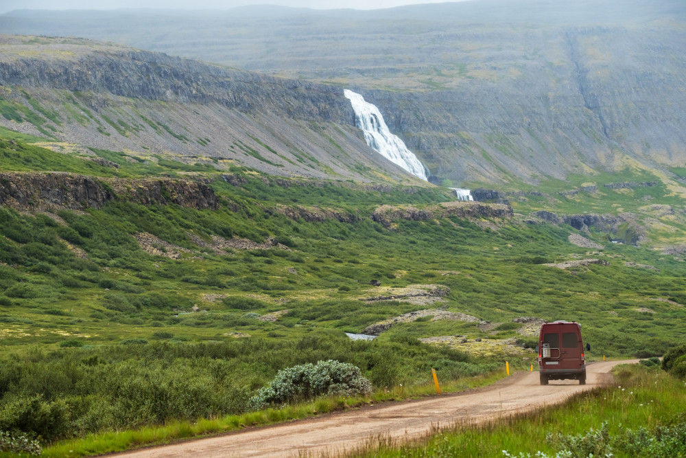 safely driving a camper through the Westfjords area