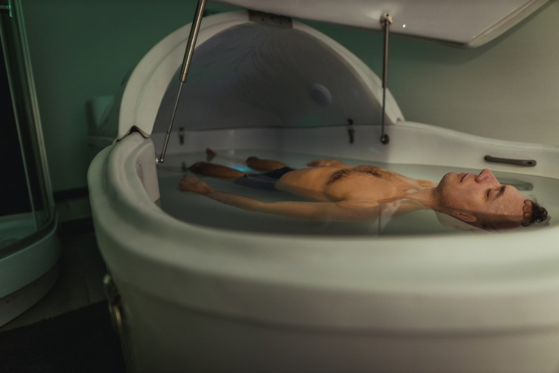 man having a great experience in a spa in Iceland