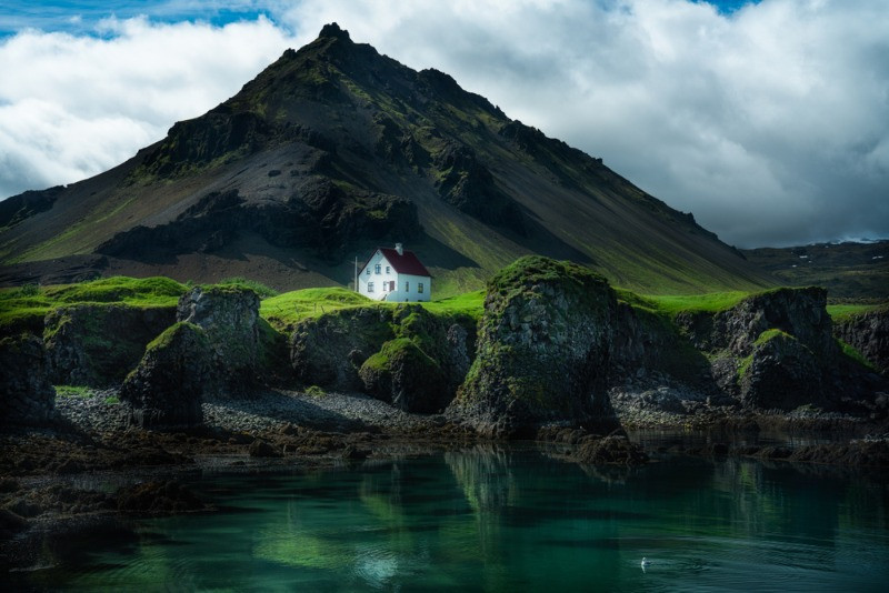 Tiny house in the amazing landscape of the Snaefellsnes peninsula