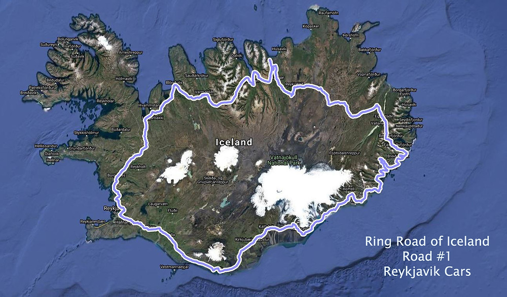 Map of Iceland highlighting the Ring road route