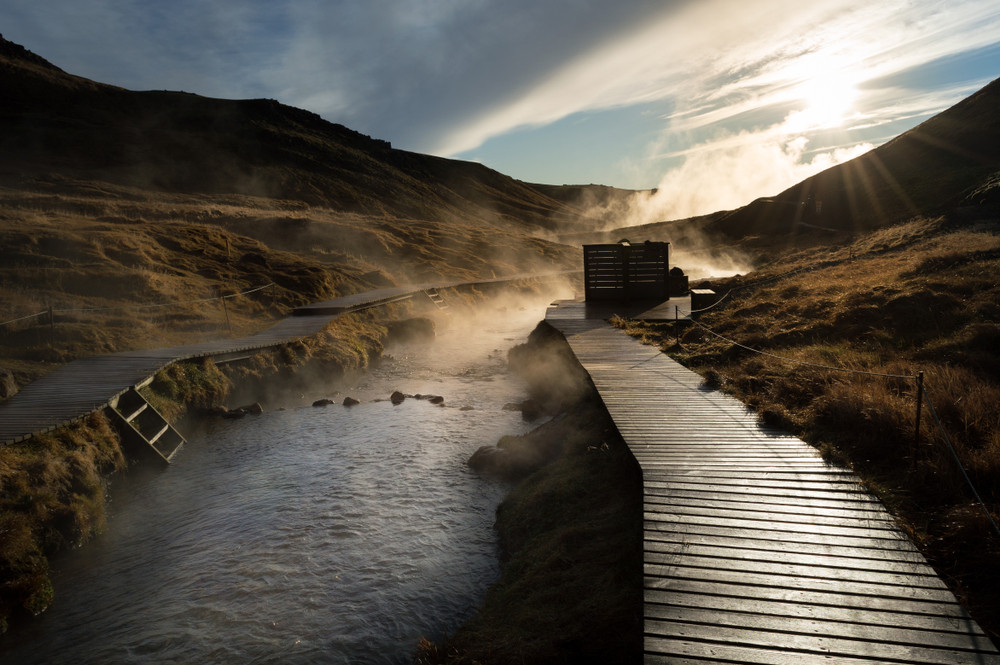 Rio de Aguas Calientes nel sud dell'Islanda - Reykjadalur