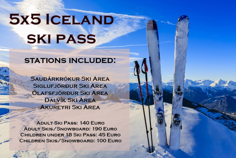 Promotional banner for an ski pass in Iceland