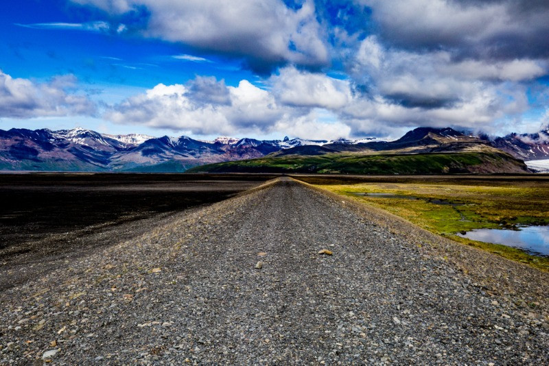 gravel road in iceland with beautiful background