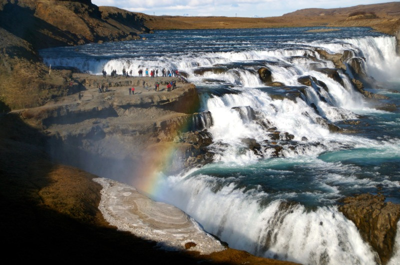 Gullfoss waterfall, a main attraction in the Golden Circle