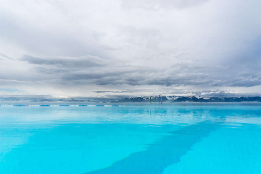 infinite pool at Hofsos in north Iceland