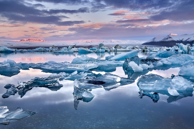 Jokulsarlon: Iceland's glacier lagoon at sunset