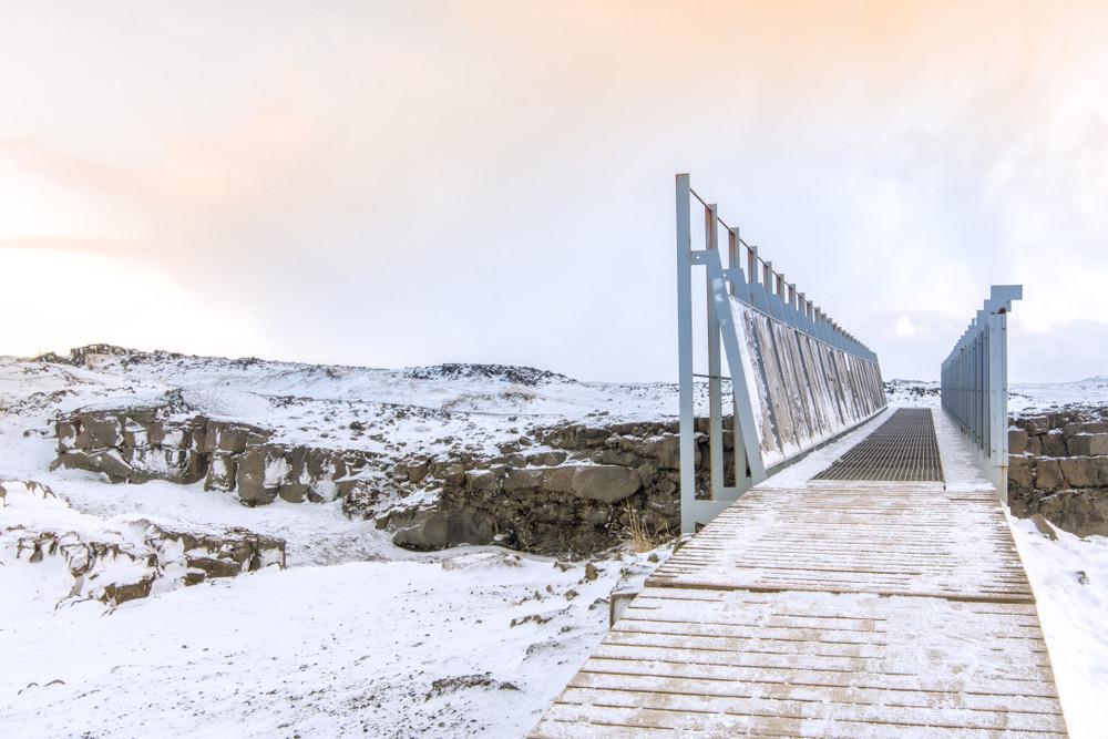 Bridge between two continents in the Reykjanes Peninsula