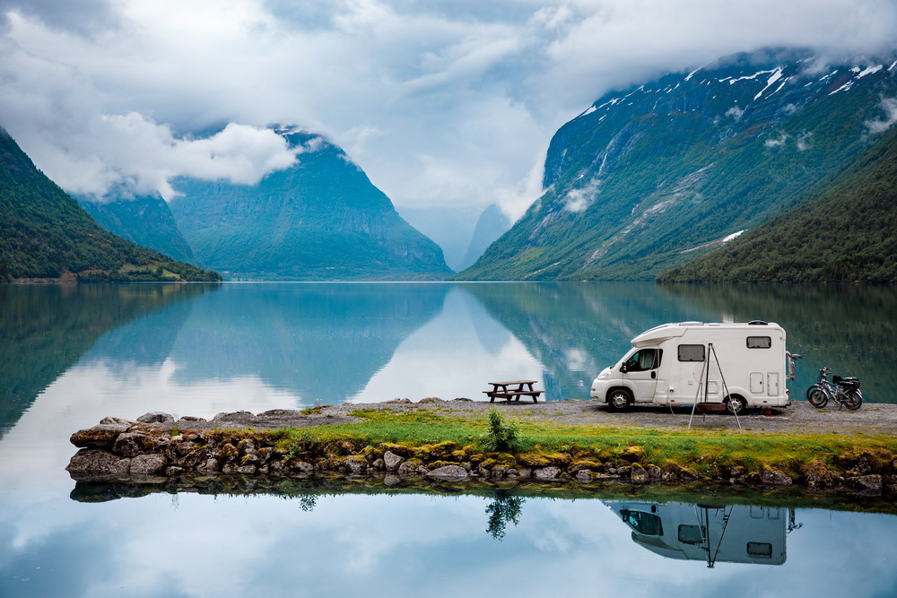 family motorhome parked in a fjord - renting a van in iceland