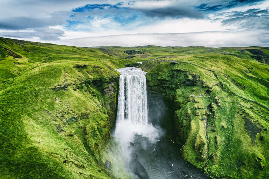 Skogafoss waterfall, aerial view - Iceland nature protection measures