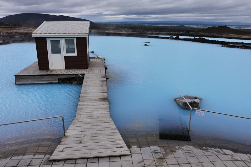 The blue waters of the myvatn spa