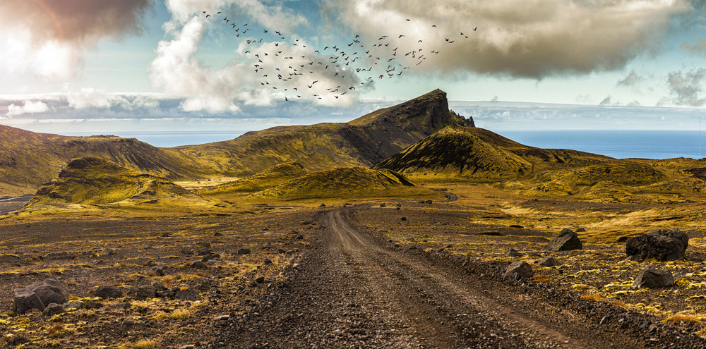 Mountain road and views of the F208 route in Iceland
