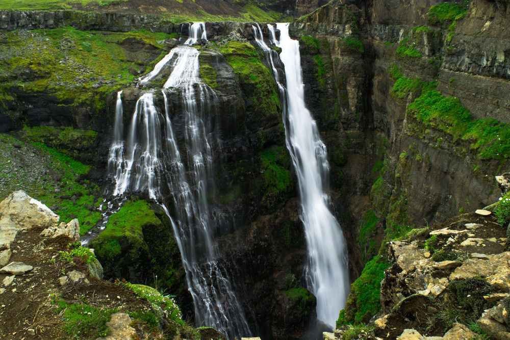 beautiful sight of glymur waterfall in Iceland