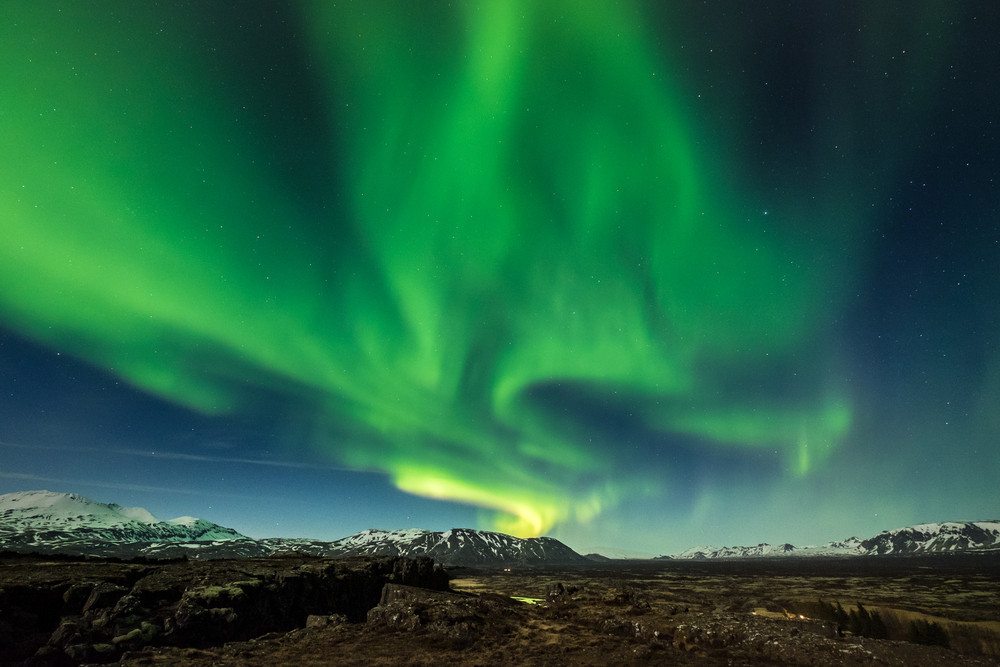 Aurora boreale nel parco nazionale di Thingvellir