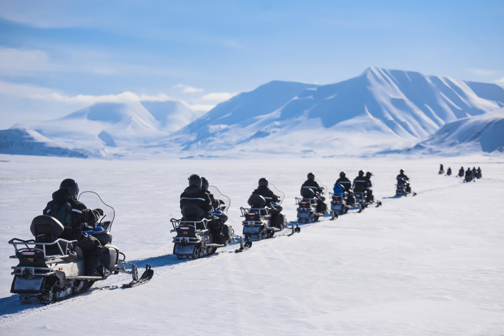 snowmobiling in Iceland in winter