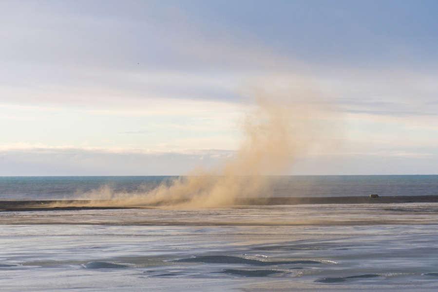 Tormenta de arena en las planicies islandesas