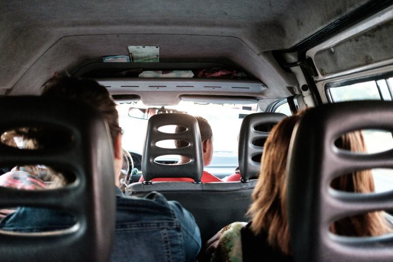 Family in minivan rental in Iceland