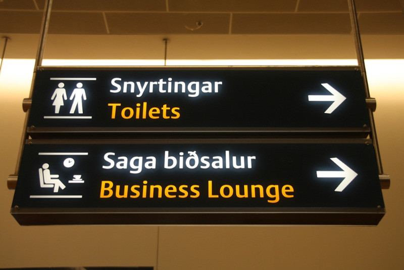 Keflavik Airport sign for the Business lounge