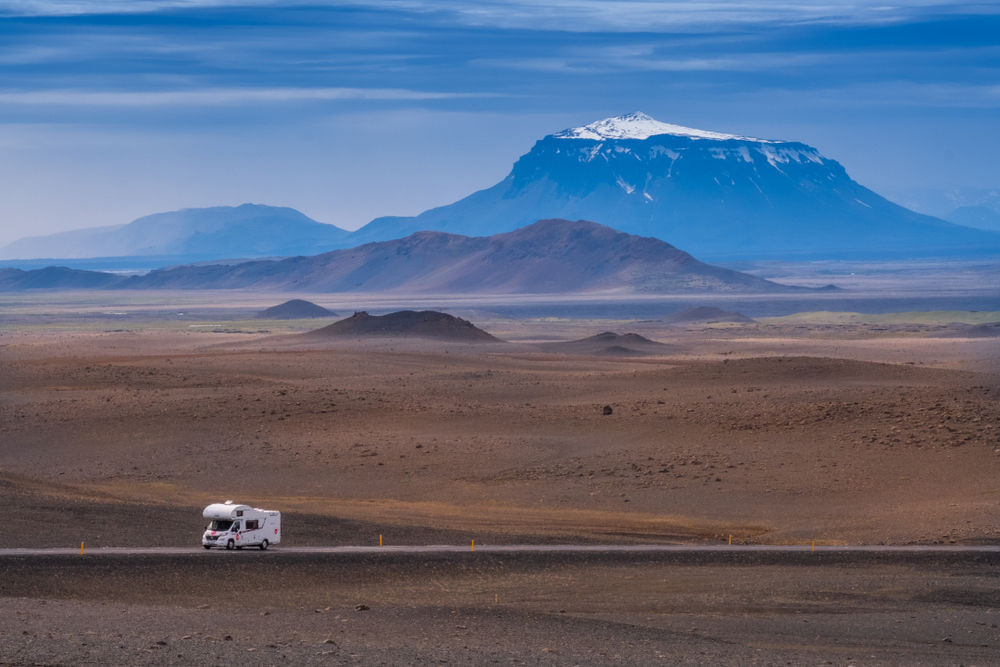 Motorhome on the open road in Iceland