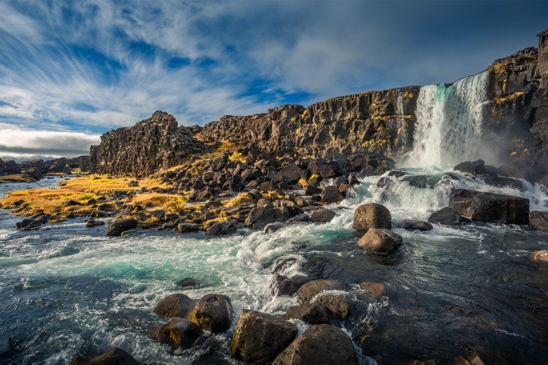 Oxararfoss waterfall in Thingvellir National Park