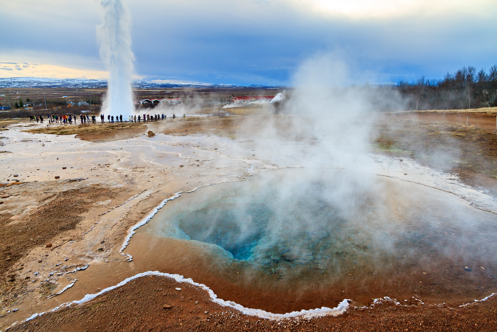 impressive Geysir at the golden Circle in Iceland