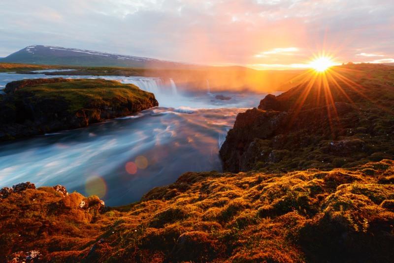 Goðafoss waterfall sunrise on east side