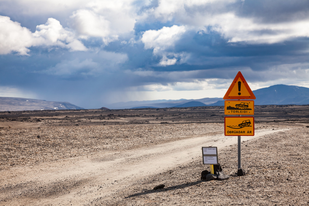 Iceland road sign informing of tough terrain ahead