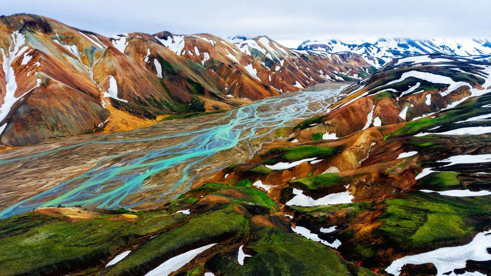 Preciosa vistas panoramicas de Landmannalaugar