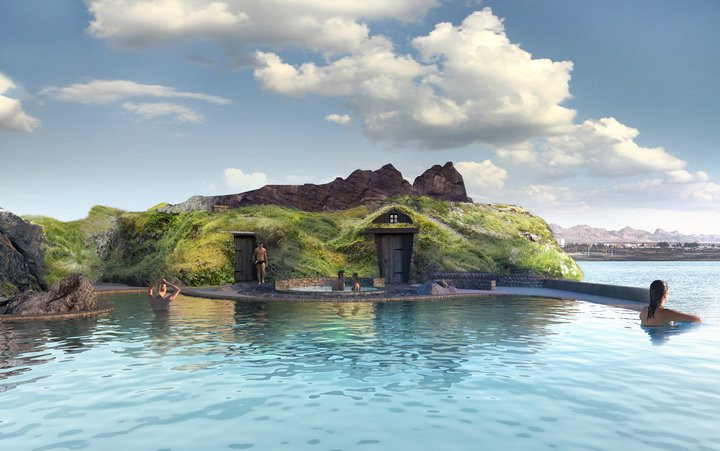 Bathing area of Iceland's Sky Lagoon
