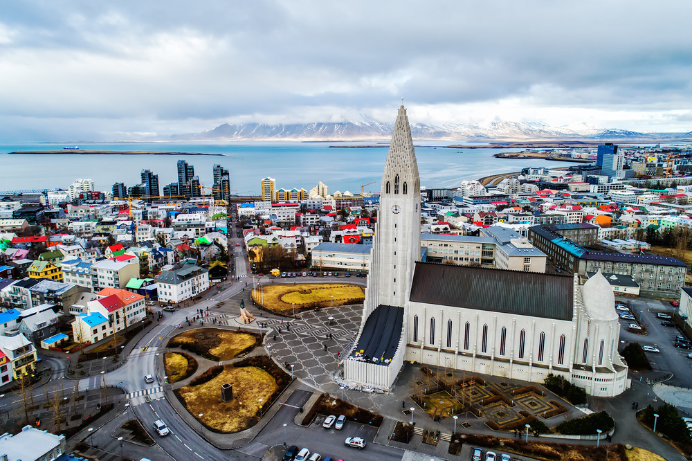 aerial view of Reykjavik city