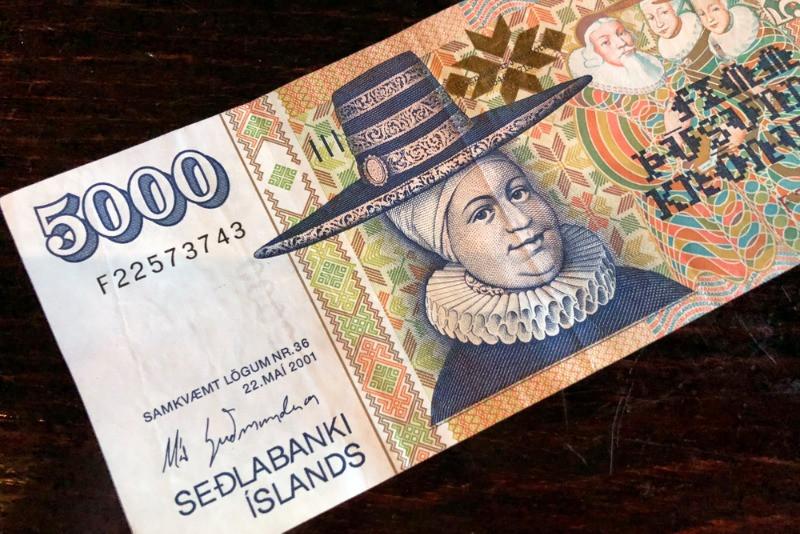 Icelandic currency 5000 krona with Ragnheiður Jónsdóttir