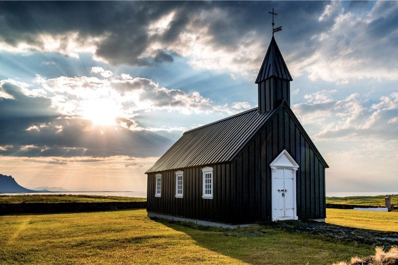The Budir black church in Snaefellsnes Peninsula