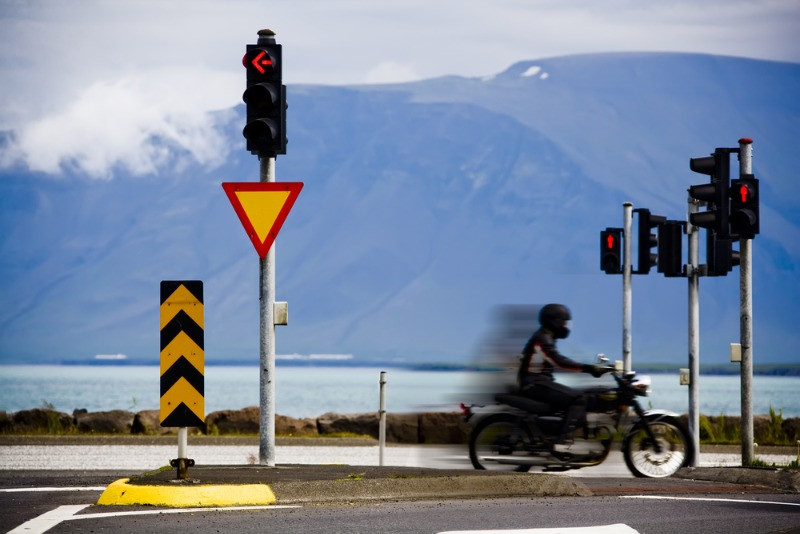 standard traffic lights in Iceland, in the capital, Reykjavik