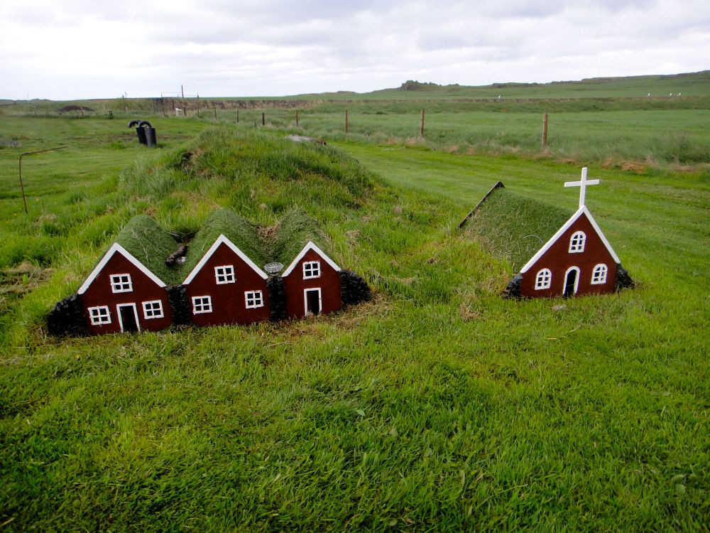 Tiny turf elves houses and church in Iceland