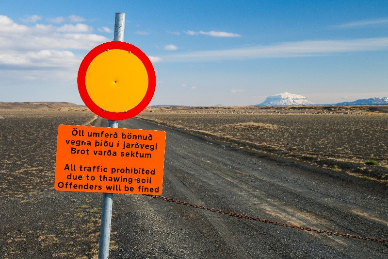 road closure due to thawing soil in Iceland