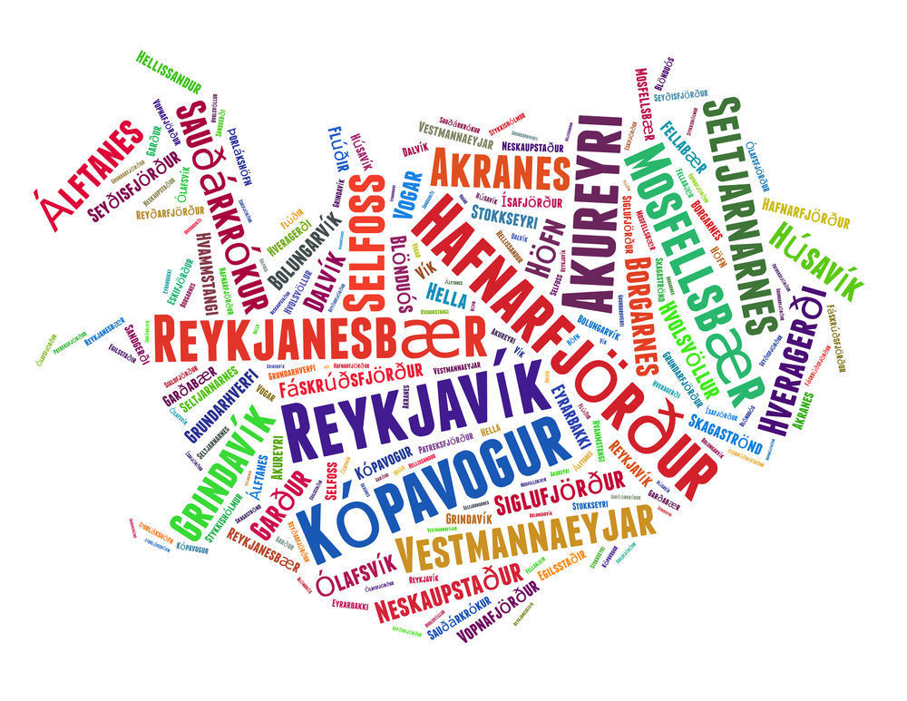 Map of Iceland with the name of each town on it